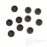 Thick Black Shirt Buttons with Red & White Detailing, Made in Italy