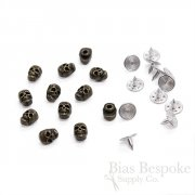 Set of 144 Antique Brass Skull-Shaped Rivet Studs