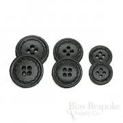 Black Leather 4-Hole Buttons in Three Sizes, Made in Italy