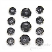 RYKER Dark Gray Modern Burnt-Edge Suit Buttons, Made in Italy