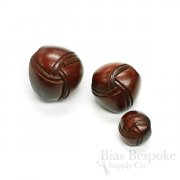 Red Brown Double Woven Thick Leather Buttons, Made in Italy