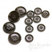 Classic Darkest Brown Lacquered Corozo Suit Buttons, Made in Italy