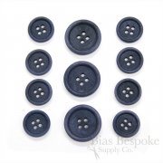 LUCA Classic Matte Dark Denim Blue Corozo Suit Buttons, Made in Italy