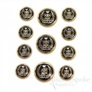 Gold and Black Enamel Coat of Arms Buttons, Made in Italy