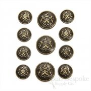 Antique Brass Coat of Arms Buttons, Made in Italy