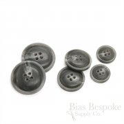 Matte Dark Gray Convex Buttons for Suits and Coats, Made in Italy