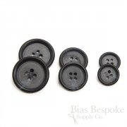 Double-Matte Blue Black Buttons for Suits and Coats, Made in Italy