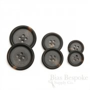 Double-Matte Brown Black Buttons for Suits and Coats, Made in Italy