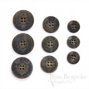 Blackened Buffalo Horn Coat of Arms 4-Hole Buttons for Suits and Coats