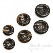 Brown-Black Genuine Horn Overcoat Buttons, Made in Germany