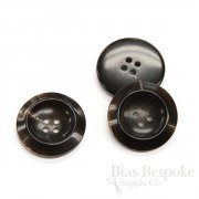 Thick and Sharp Brown-Black Buffalo Horn Overcoat Buttons, Made in Germany