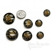 Lacquered Black Buffalo Horn Coat of Arms Buttons for Suits and Coats, Made in Italy