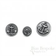 Handsome Antique Silver Anchor Buttons in Three Sizes, Made in France