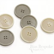 Gray and Cream Modern Matte Overcoat Buttons, Made in Germany