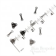 Small Sew-On Slim Metal Skirt Hooks and Bars, Made in Japan