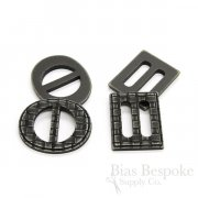CLARK Aged Black Woven-Look Buckles in Two Styles, Made in Italy