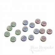 Pale Gray Shirt Buttons with Colorful Backs, Made in Italy