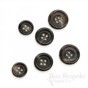 Luxurious Dark Brown Genuine Horn Suit Buttons, Made in Germany