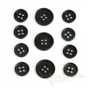 Refined Black Horn-Effect Suit Buttons, Made in Germany