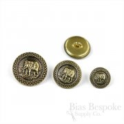 Antique Gold Elephant Buttons in Three Sizes, Made in France