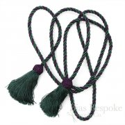 "Silky Purple and Green Cord Rope with Tassels, 93"" Long"