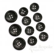 Classic Black Real Horn Suit Buttons, Made in Germany