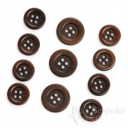 Modern, Sleek Brown Corozo Suit Buttons, Made in Germany