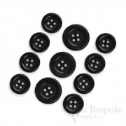 Modern, Sleek Black Corozo Suit Buttons, Made in Germany