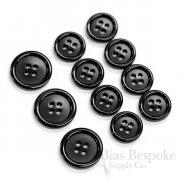 Classic Black Real Corozo Suit Buttons, Made in Germany