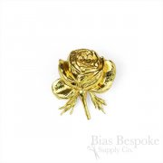 "Stamped 1 1/2"" Goldtone Metal Rose Flower, Made in France"