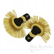 Naval Epaulettes with Black Wool & Gold Bullion Fringe