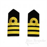 Black Velveteen Shoulder Boards with Gold Trim