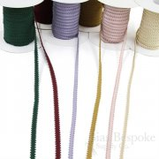 "ANTONIA 3/16"" Picot Edge Cotton & Viscose Grosgrain Ribbon, Made in Italy"