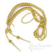 TITAN Gold Bullion Wire Thick Braided Aiguillette with Mesh & Metal Tips