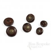 Thick Dark Brown Leather Suit & Coat Buttons with Inset Metal Horse Heads, Made in Italy