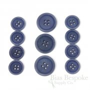 LUCA Classic Matte Faded Denim Blue Corozo Suit Buttons, Made in Italy