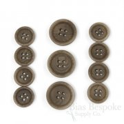 LUCA Classic Matte Mushroom Brown Corozo Suit Buttons, Made in Italy