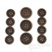 LUCA Classic Matte Dark Brown Corozo Suit Buttons, Made in Italy