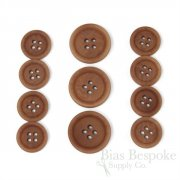 LUCA Classic Matte Apricot Brown Corozo Suit Buttons, Made in Italy