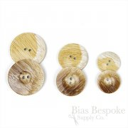 Smooth Polished Stone-Effect Brown-Tan Coat Buttons in Three Sizes