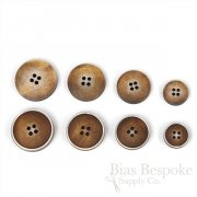 OLIN Cinnamon Brown Buttons with Narrow & Light Ridges, Made in Italy