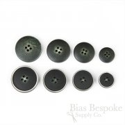 OLIN Matte Black Charcoal Buttons with Narrow & Light Ridges, Made in Italy