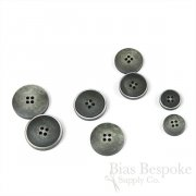 OLIN Matte Dark Gray Buttons with Narrow & Light Ridges, Made in Italy