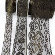 Delicate Black Lace with Gold Foil, In Three Widths, Made in Spain