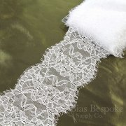 "5 1/2"" Wide Rigid Pure White Eyelash Scallop Lace"