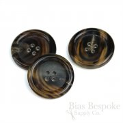 Classic Dark Brown Buffalo Horn Overcoat Buttons, Made in Germany