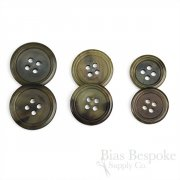 Olive Brown Buffalo Horn Buttons, Made in Germany