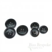 Low-Profile Black Buffalo Horn Suit Buttons, Made in Germany