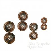 CHESHIRE Russet Brown Horn-Effect Suit and Overcoat Buttons, Made in Italy