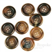 Extra Thick Real Horn Overcoat Buttons, Burnt Caramel Color